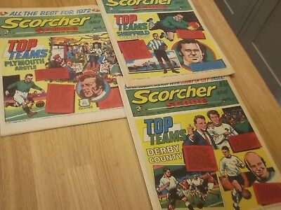 3 X 1970S Scorcher And Score Comic Plymouth Argyle Derby & Sheff Weds On Covers