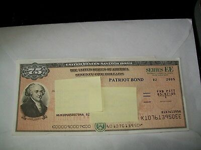 United States Savings Bond ' Just For Display ' $ 75 Series Ee (Not Cancelled)