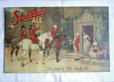 Pre Pro STERLING ALE BEER Tin Litho BAR Man Cave SIGN Artist HEYWOOD HARDY 1889