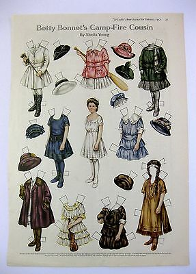 Vintage February 1917 Betty Bonnets Camp Fire Cousin Paper Doll Magazine Page A