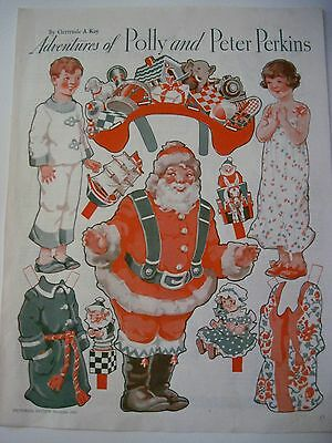 "1933 Christmas Puppe "" Adventures Of Polly & Peter Perkins "" W / Santa"
