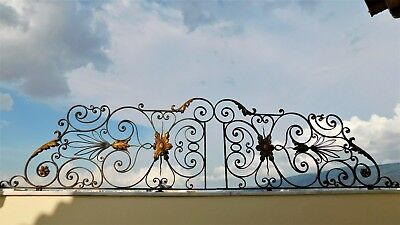 Antique Vintage Wrought Iron Railing Architectural Rails Balcony 9 Feet.