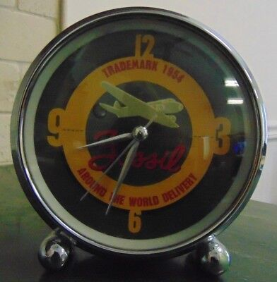 Fossil 1954 Airplane Desk Clock AROUND THE WORLD DELIVERY