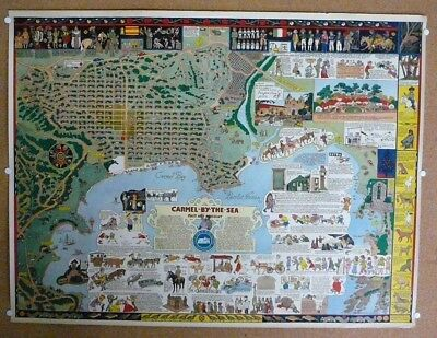 "Rare original ""Carmel-By-The-Sea"" map by Jo Mora of his hometown.. not a reprint"