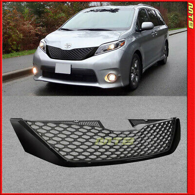 SE Style Front Upper Top Grille For Toyota Sienna 11-17 Honeycomb Black Painted