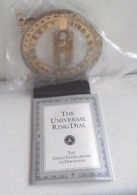 1987 Franklin Mint Universal Equinoctial Ring Dial Brass w/Stand & original box