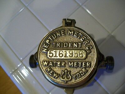 Vintage Brass Trident Water Meter Neptune Meter Co. 5161956 New York