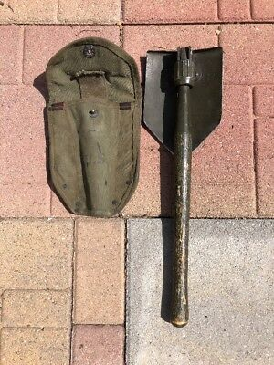 WWII WW2 1945 Ames shovel  and 1944 sheath Cover Original PAINT WORK!!