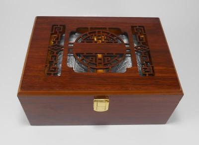 Boxed Pewter Chinese Tea Caddy With Dragon & Phoenix Design