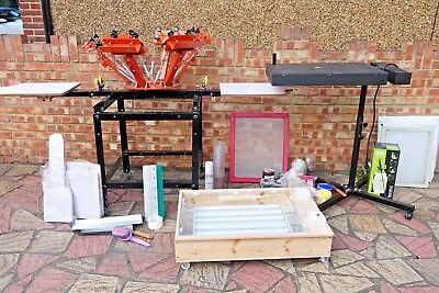New Screen Printing Rotative Press 6 Colors 2 Plates Oh Series With Lots Extras!