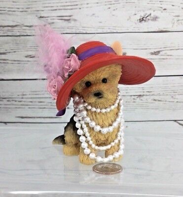 MY YORKIE RED HAT & Pearls - DIVA DOGGIE Dog FIGURINE - HAMILTON COLLECTION