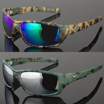 86075b688dc Mens Camo Camouflage Wrap Sports Hunting Military Mirrored Lens Sunglasses