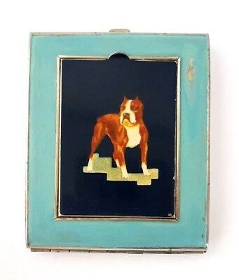 Vintage Art Deco Vanity Compact & Cigarette Case Combination with Painted Dog.