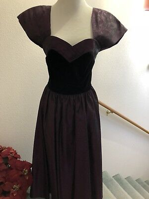 Vintage Laura Ashley Black Velvet And Purple Taffeta Dress Size 10