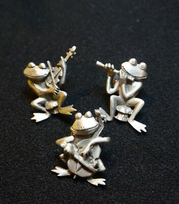 JJ Jonette Jewelry Pewter Frog Band Pins - 3 Brooch Playing Musical Instruments