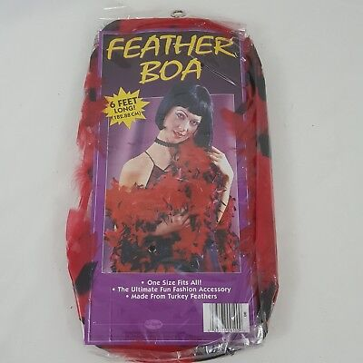 Red black FEATHER BOA BOAS 6 Foot NIGHT BURLESQUE DANCE PARTY SHOW COSTUME