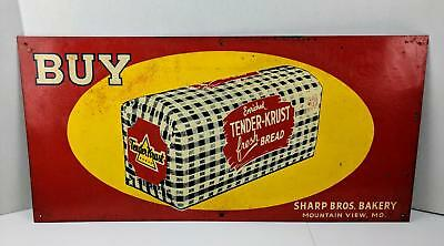 Vtg TENDER KRUST Bread Metal Sign Sharp Bros. Bakery Mountain View MO