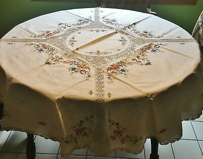 Vintage 70 Inch Round Tablecloth Crochet and Cross Stitch + 8 Napkins