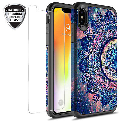 For iPhone Xr (6.1) Hybrid Graphic Case W/ Tempered Glass Screen Protector