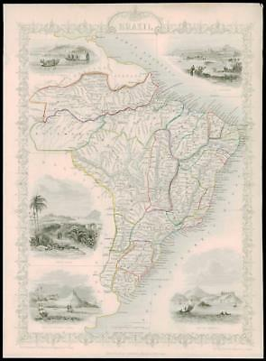 "1850 Illustrated Antique Map of ""BRAZIL"" including Uruguay by Tallis (53d)"