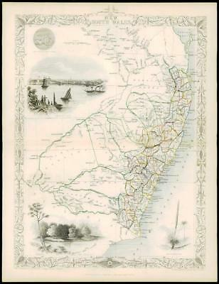 "1850 ""NEW SOUTH WALES"" Original Antique Map by Tallis Australia"