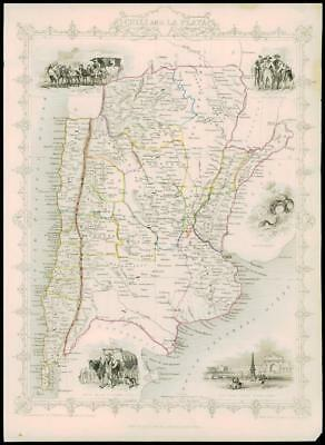 """1850 Illustrated Antique Map of """"CHILE & LA PLATA"""" & ARGENTINA  by Tallis (68d)"""