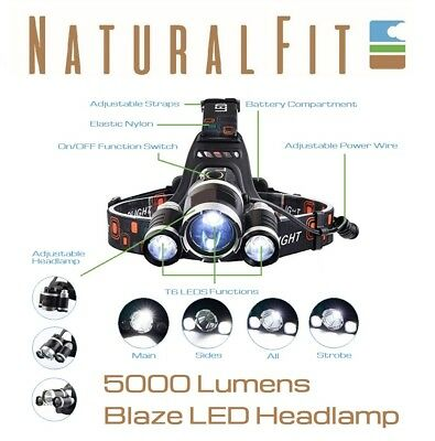 Camping Headlamp 5000 Lumen LED Rechargeable Spot Light For Fishing, Hike, Hunt