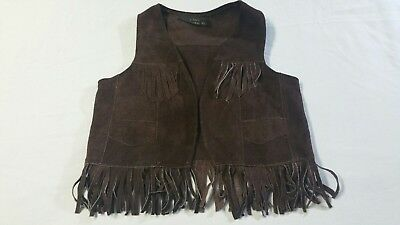 Children's Leather Fringed Western Cowboy Costume Vest Brown