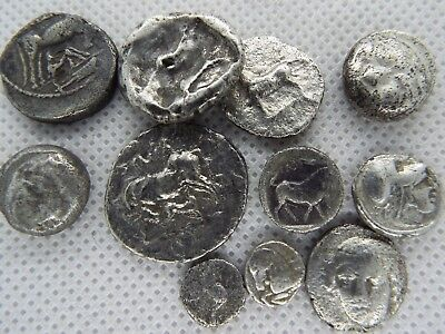 33-2. LOT OF 11pcs GREEK ASSORTED SILVER FRACTIONs  ANCIENT COINS 100BC - 200 BC