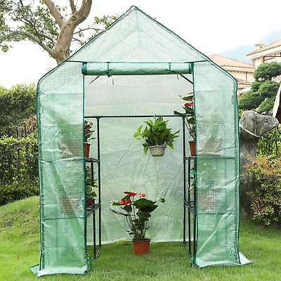 "Portable Outdoor Mini Garden Walk-In Greenhouse, 56"" L x 56"" W x 76"" H, Green"