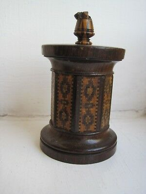 Antique Tunbridge Ware Candleholder, Vesta And Go To Bed
