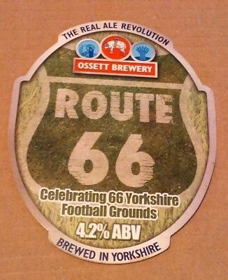Beer pump clip badge front OSSETT brewery ROUTE 66 cask ale Yorkshire