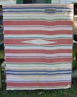 Vintage 1940s Mexican SW Saltillo Hand Woven Blanket Bedspread 5' W x 7.5' L A/I