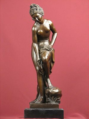 Signed Bronze Sculpture French Art Classic Nude Beauty Statue On Marble Base