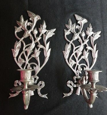 Vintage Pair Pewter Candle Wall Sconces - Heavy / Solid - Ornate Leaf Design