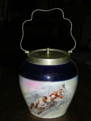 ATQ China Biscuit Jar w/silver lid and handle, Sledding Image, Blues ESTATE SALE