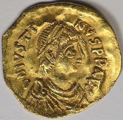 Ancient Byzantine Justinian I The Great  527-565 Ad.  Av Gold Tremissis
