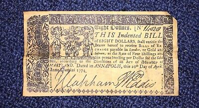 1774 Colonial Money Authentic $8 Bill Maryland