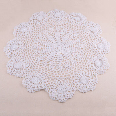 Pure Cotton Handmade Crochet Lace Doily Table Placemat Round Flower Coaster Mat