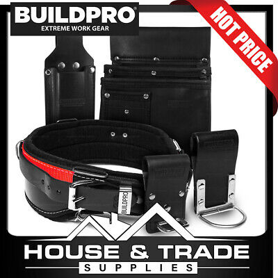BuildPro Builders Carpenters Plasterers Set 5 Piece Leather Heavy Duty Stitching