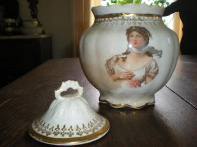 ATQ China Biscuit Jar w/Portrait Image and Gold Trim, ESTATE SALE