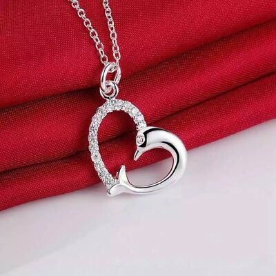 """925 Sterling Silver Dolphin Heart Necklace CZ Cubic Love Pendant 18"""" Valentines"""