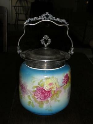 ATQ China Biscuit Jar w/ornate silver lid and handle, Roses ESTATE SALE