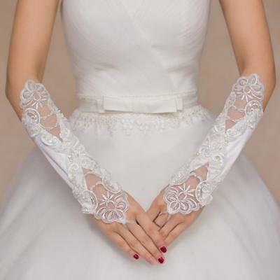 Vintage Style White  Lace Wedding Brides Rhinestone Satin Fingerless Gloves