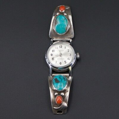 VTG Sterling Silver - NAVAJO Signed Turquoise Coral Watch Face & Tips - 23g