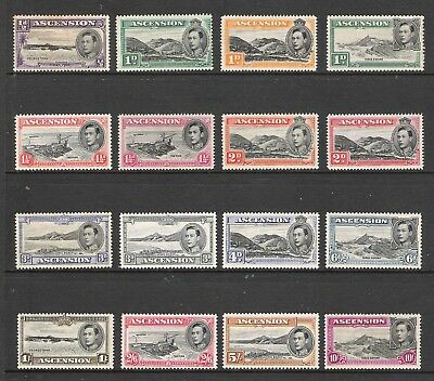 Ascension 1938-53 Kgvi Definitive Set Of 13 (Sg 38-47) Mh (Cv £250)