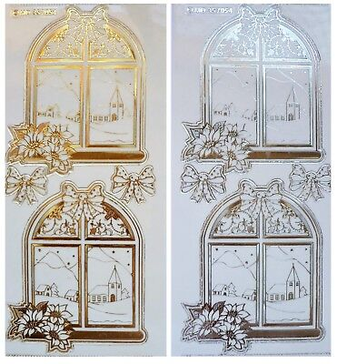 Embossed CHRISTMAS ARCH WINDOWS Peel Off Stickers Poinsettia Gold or Silver