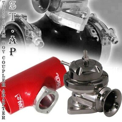 """Turbo Blow Off Valve Bov Type Rs Gunmetal 3"""" Inch Reinforce Silicone Adapter Red"""