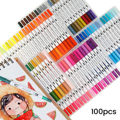 Marker Paint Brush Pen 100 Coloured Graphic Art Sketch Twin Tips Drawing Manga