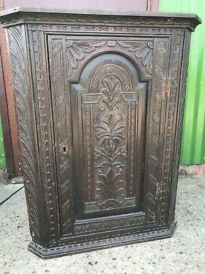 Antique Carved Oak Corner Wall Hanging Cupboard Cabinet . DISCOUNT ON 2+ITEMS